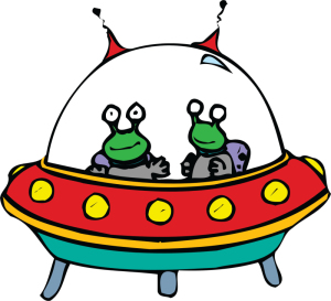2 cartoon aliens in a spaceship iron on stickers